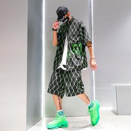 夏季潮牌衬衫套装男生嘻哈炸街舞潮流宽松青少年穿搭一套衣服帅气图片