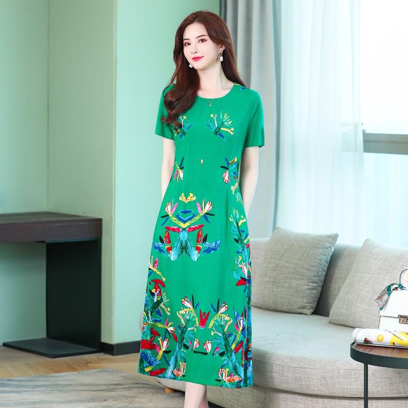 满95.00元可用1元优惠券舒适款适合妈妈穿的夏季纯棉连衣裙