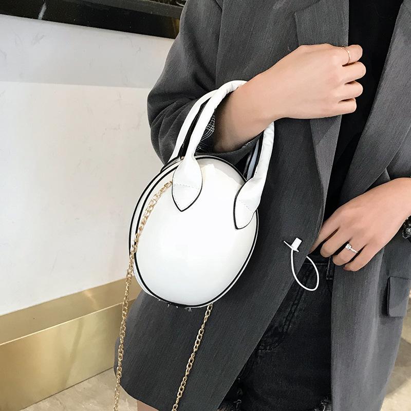 跨境女包直销pu皮纯色女式手提包欧美单肩包女百搭椭圆鸭蛋小圆包