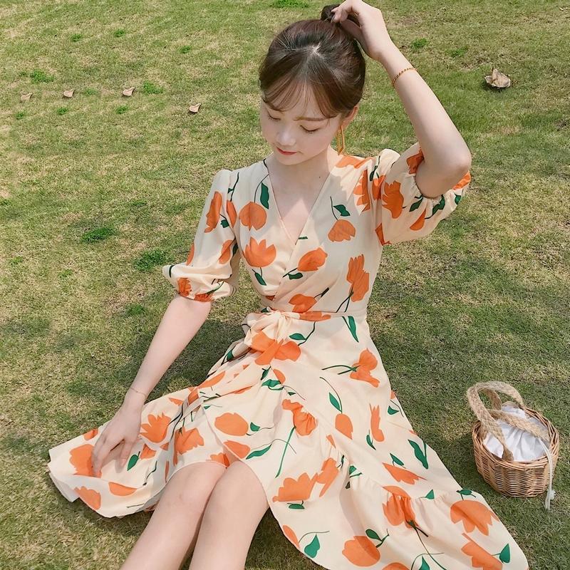 法式复古山本桔梗超仙女森系过膝智熏碎花很仙的法国小众连衣裙子