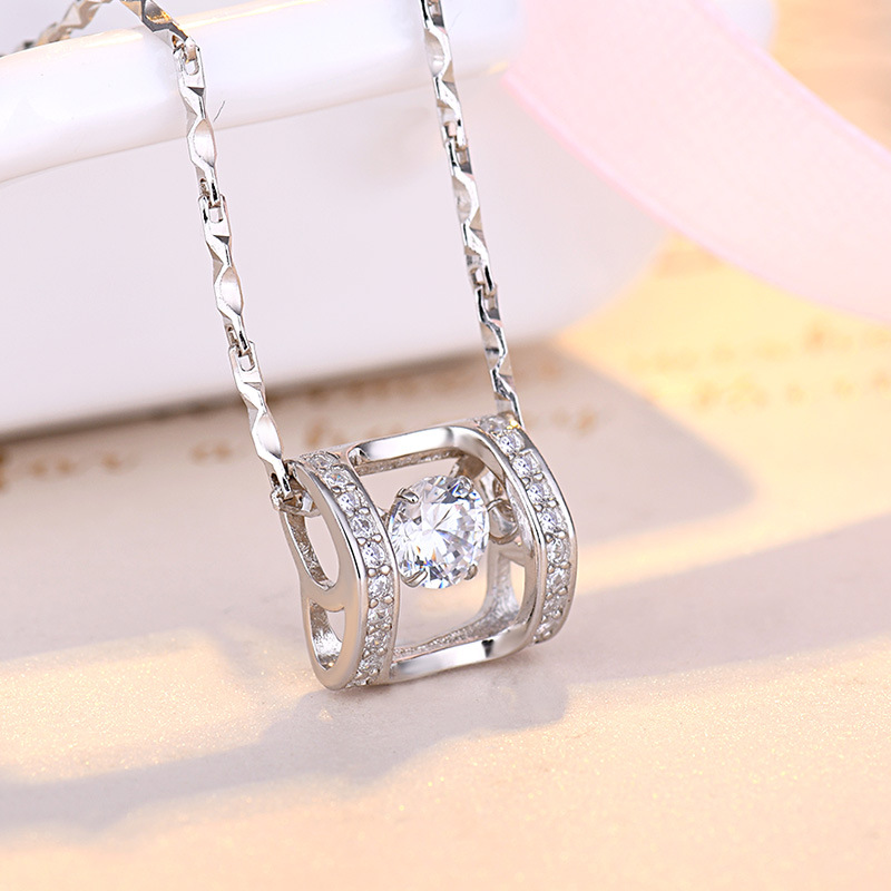 S999 pure silver beating heart necklace clavicle chain smart girl angel full silver pendant lovers present to girlfriend