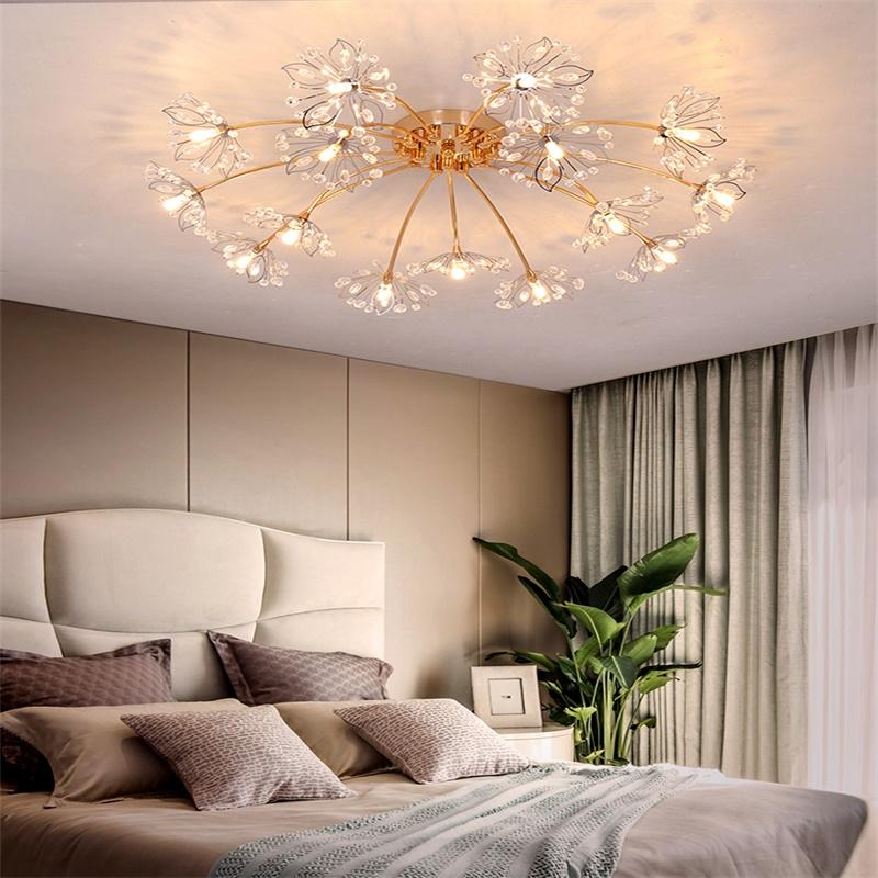 北欧卧室灯ins少女孩客厅大灯创意温馨浪漫 婚房满天星水晶吸顶灯