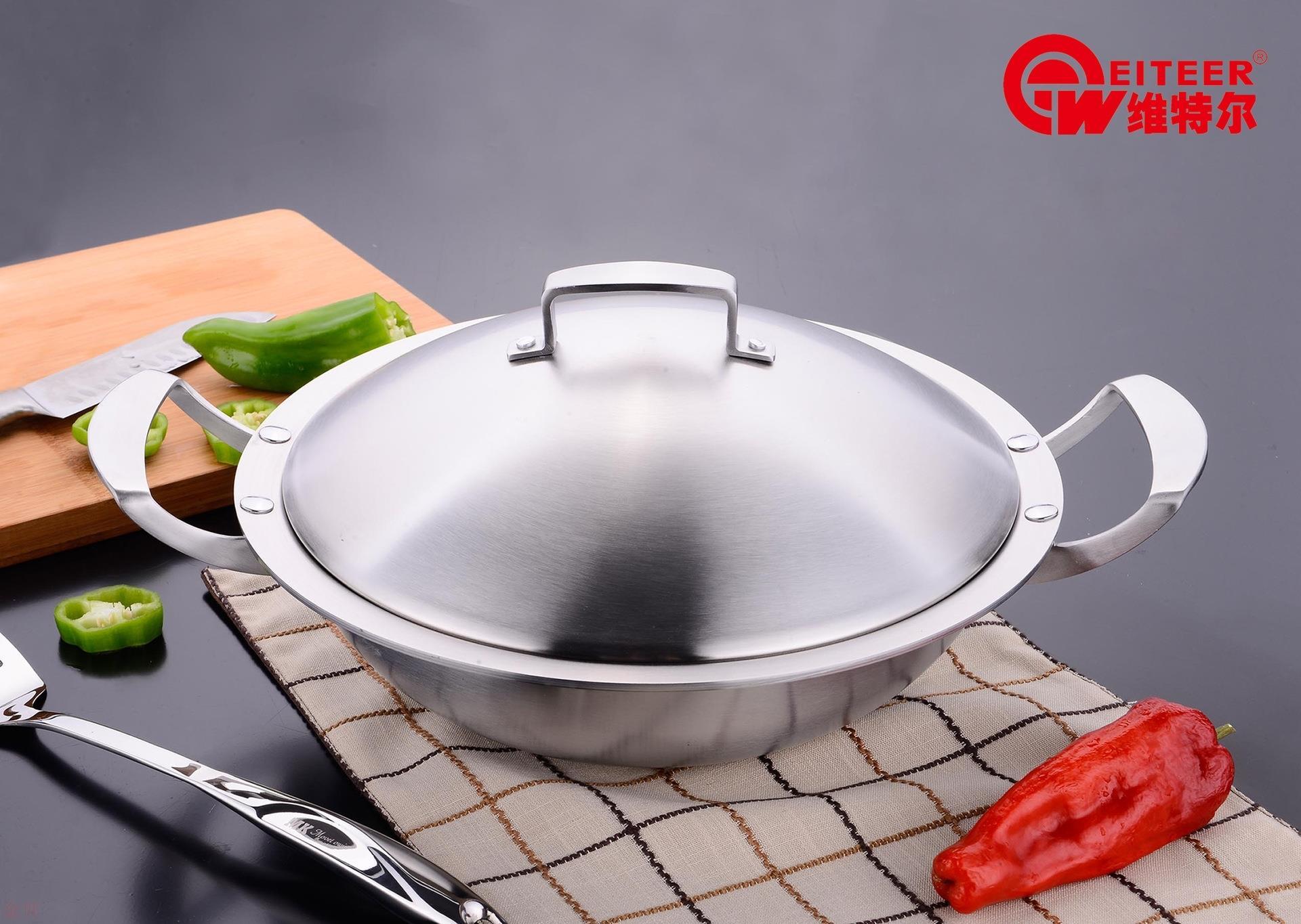 ドイツの工芸の中華双耳の4.0 mm厚さのステンレスの鍋は油煙がなくて、くっつかないで塗りません。