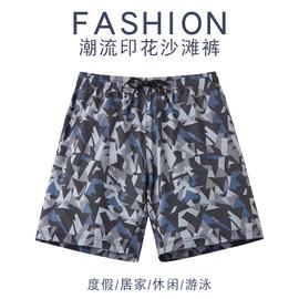 沙滩裤可下水防尴尬平角五分泳裤男士宽松温泉速干游泳衣潮牌短裤