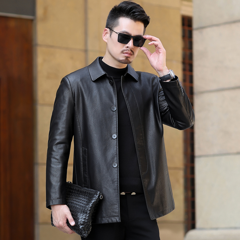 Middle-aged and elderly men's leather jacket spring and autumn thin section 40-year-old 50 dad winter plus velvet thick leather jacket men's clothing