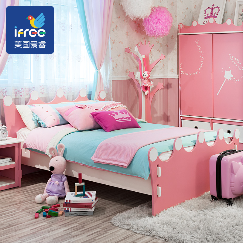 IFREE airy Alice crown childrens bed girl bed 1.2m single bed 1.5m double bed childrens Suite