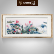 Suzhou embroidery finished painting embroidery handmade lotus decorative painting Zen living room bedside mural chinese wall painting non-legacy