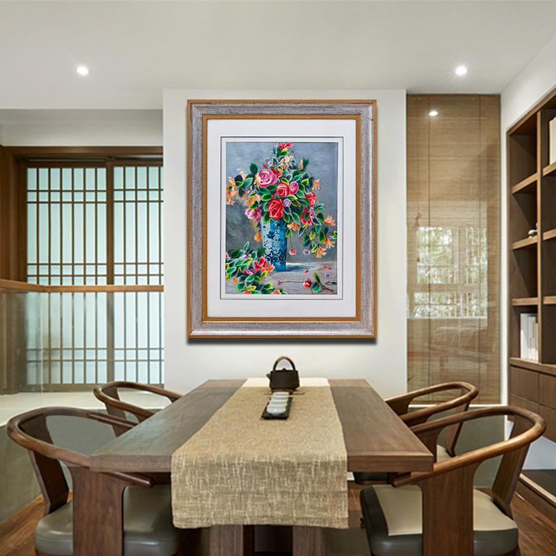 欧式挂画过道油画装饰画玄关壁画竖版客厅墙画手工刺绣苏绣成品