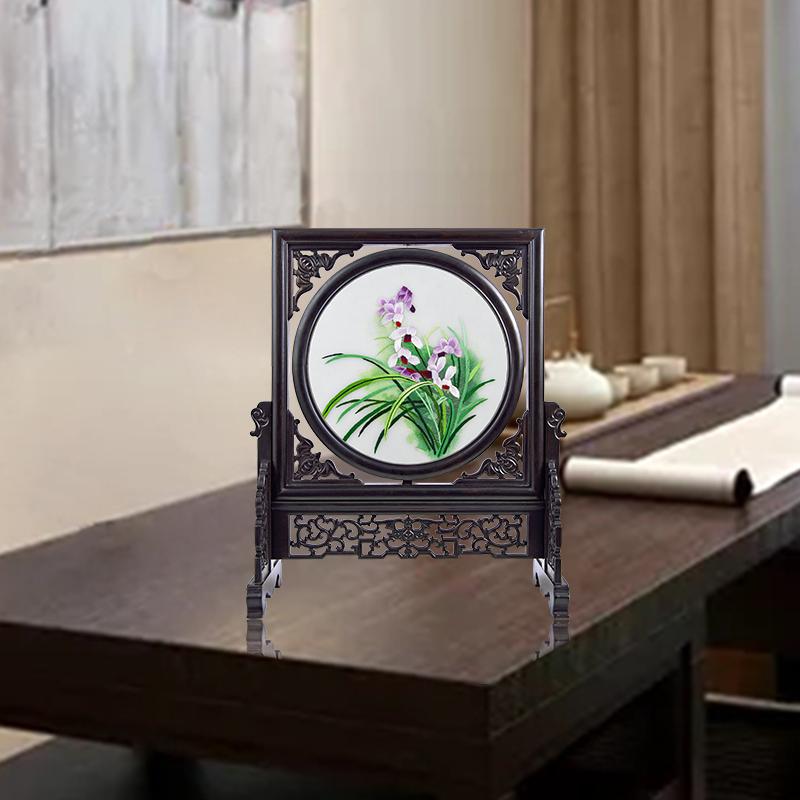 家居摆件客厅装饰品办公桌摆设紫光檀复古中国风老外礼品中国特色