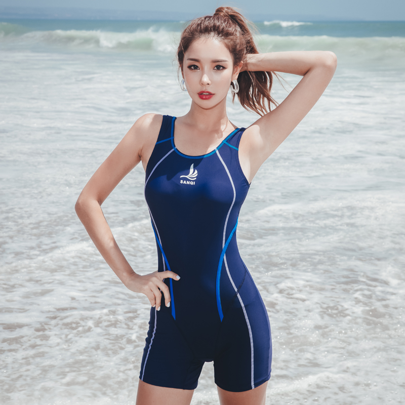 Swimsuit female conservative student youth one-piece boxer pants cover belly show thin professional training sports hot spring swimsuit