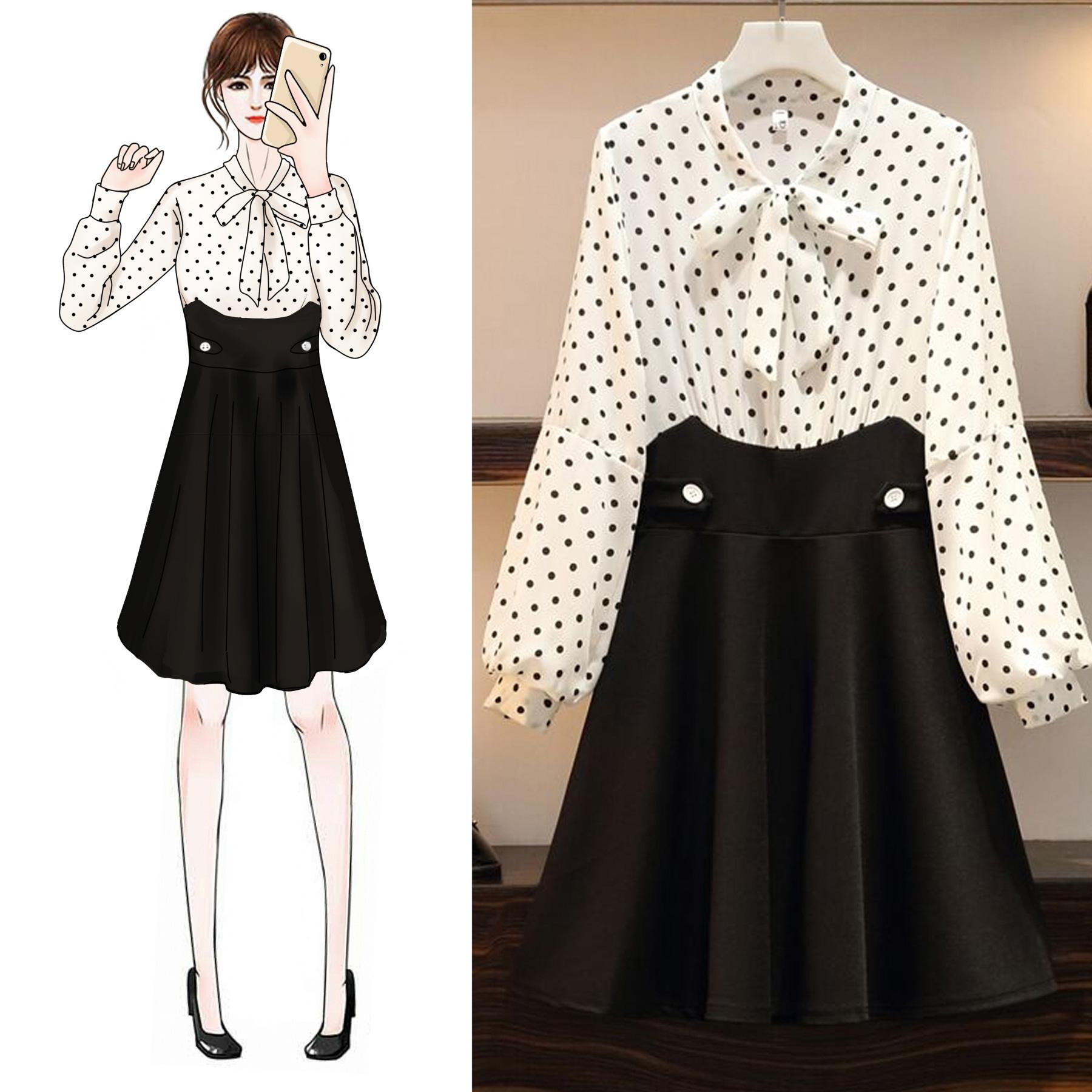 大码女装秋装新款胖mm气质连衣裙满188.00元可用80元优惠券