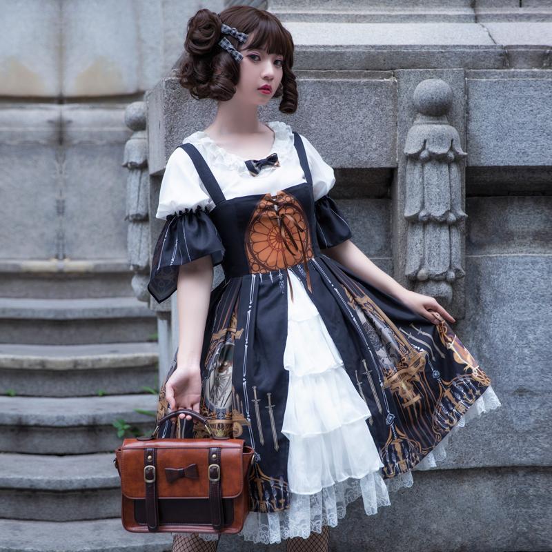 樱洛芙lolita原创设计 恶魔眼泪 JSK无袖连衣裙+内搭衬衫两件套