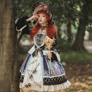 樱洛芙原创lolita小裙子 镜中雀OP 复古长袖裙洛丽
