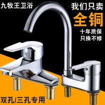 全铜面盆水龙头冷热洗脸盆洗手卫生间台盆单冷水卫浴室柜单孔冷暖