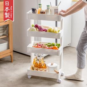 置物架日本进口FUDO厨房落地免打孔餐边可移动卫生间收纳架储物架