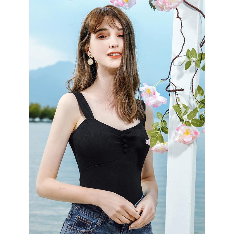 2020夏季新款精品女装纯色拼接无袖打底小衫淑女修身针织衫79112