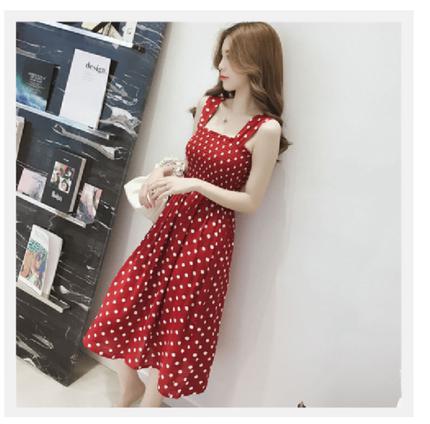 红色内搭仙女显瘦背带打底裙连衣裙