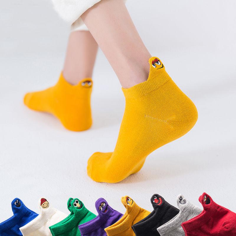 Socks womens fashion net red summer ins fashion super fire heel belt decoration Japanese cute low waist socks pure cotton