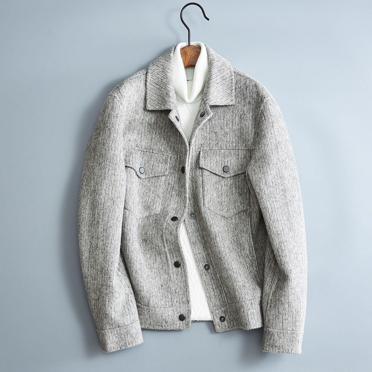 Short double-sided wool coat mens autumn winter 2021 new loose lapel jacket youth work coat