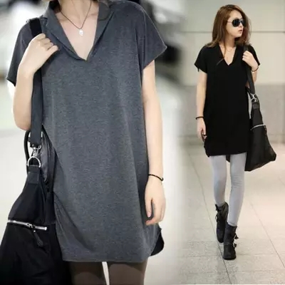 Foreign trade oversized womens summer clothes 300kg medium length style 200kg loose belly covering Batman lyiq3imh46