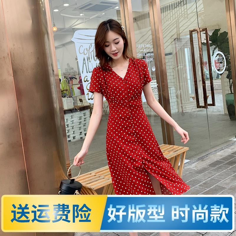 10月10日最新优惠2019夏红色波点女法式复古连衣裙