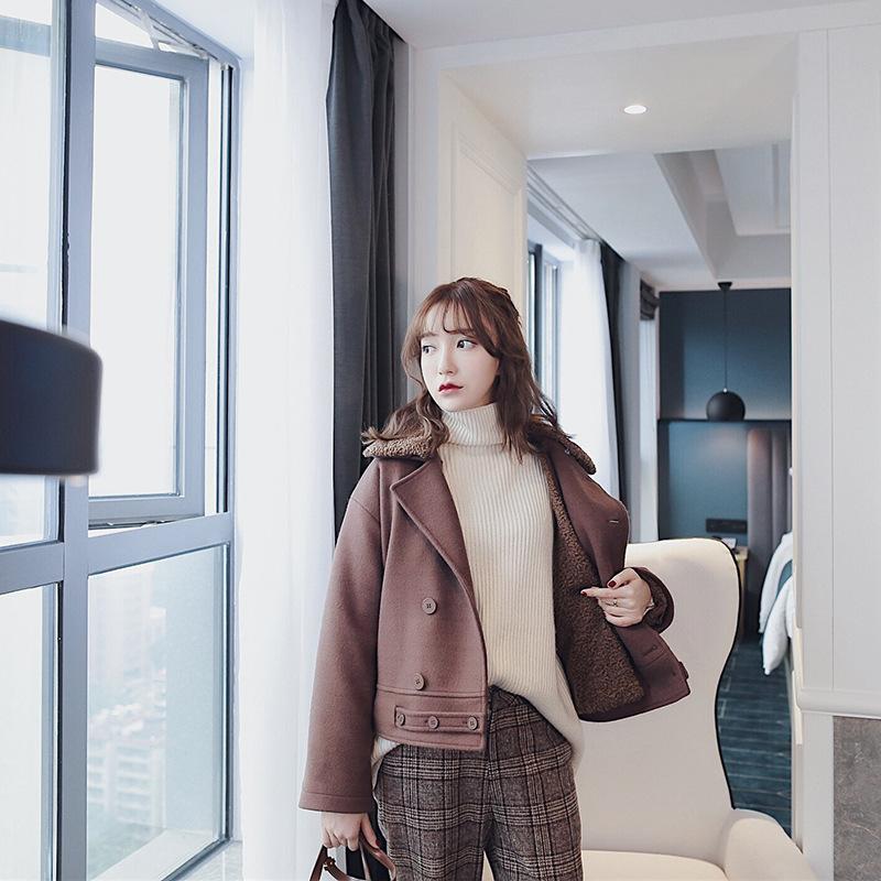 2017冬季新款�n版��松巧克力毛里多�N穿法短呢大衣女加厚外套