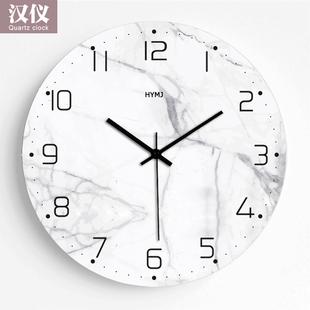 现代简约仿大理石钟表客厅挂钟创意北欧静音个性 卧室装 饰时钟