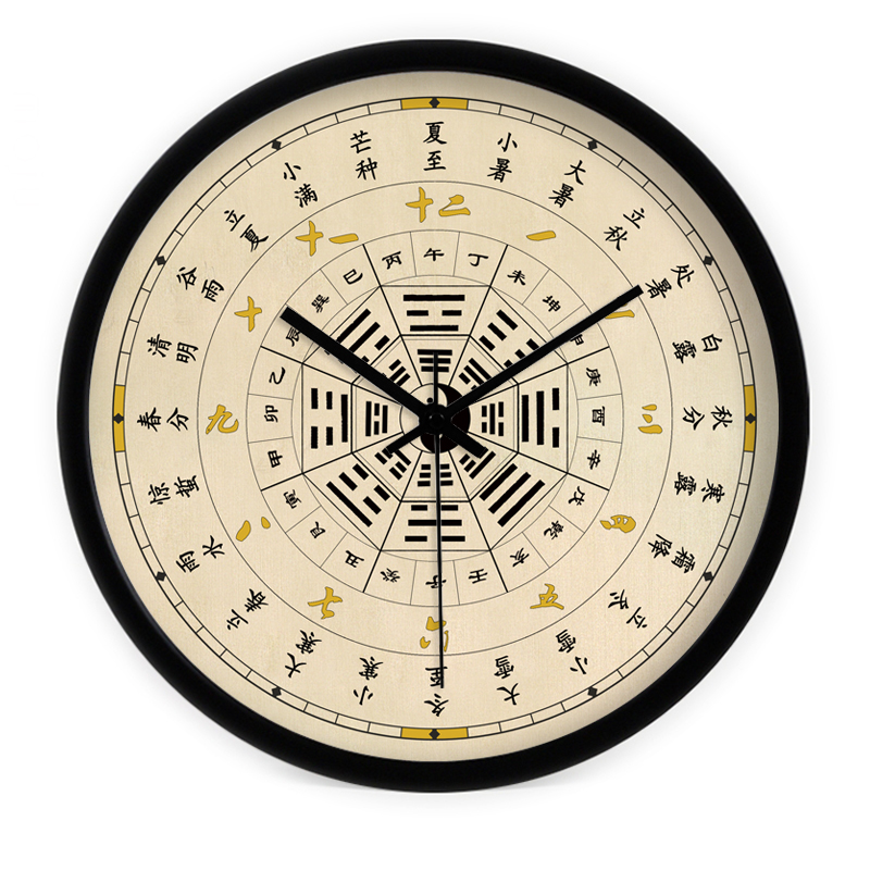 创意艺术中式二十四节气太极养生客厅静音挂表挂钟时钟石英钟包邮 Изображение 1