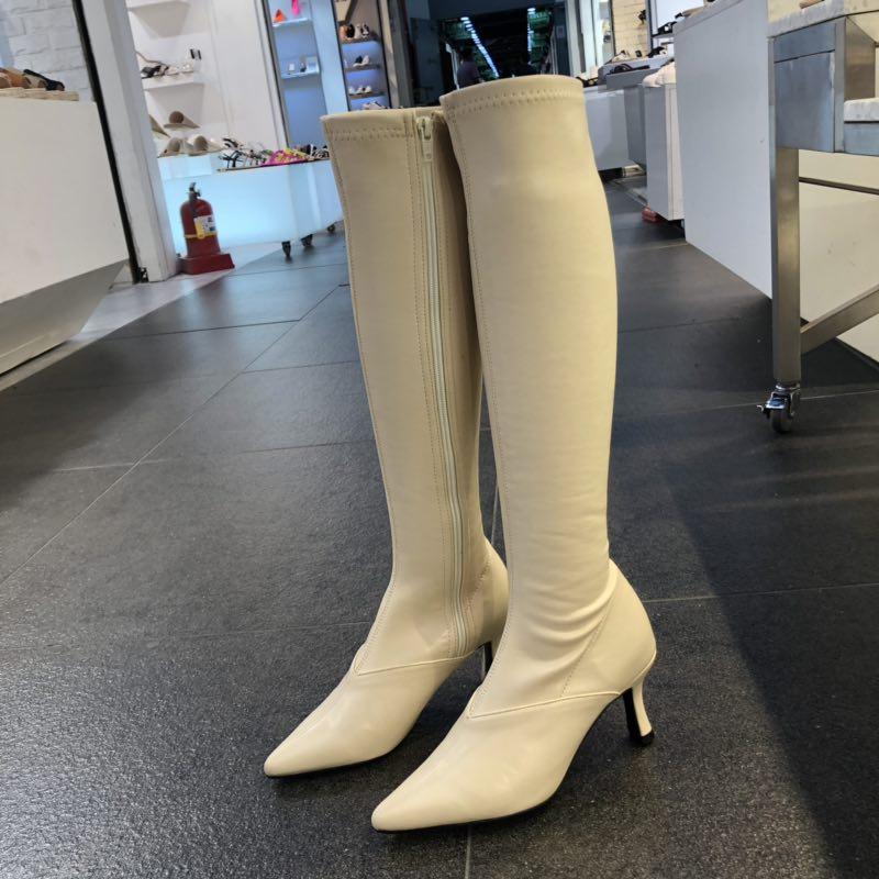韩国20秋新款高筒长筒尖头细跟高跟马丁过膝骑士瘦瘦白色长靴子女
