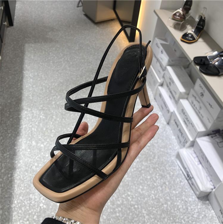 韩国东大门2019夏季新款方头性感夹趾镂空后挂脚细高跟时尚凉鞋女