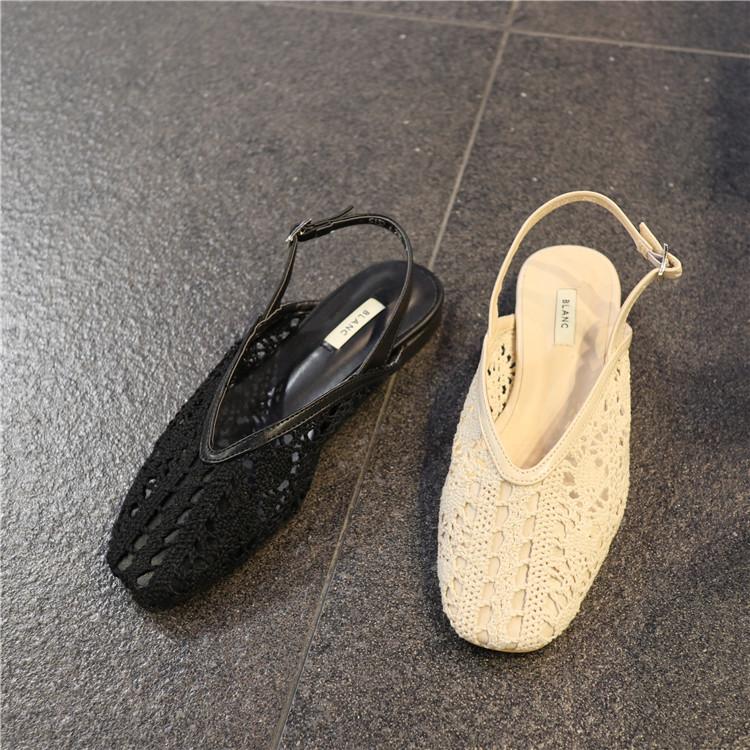 韩国东大门2019夏季新款网状镂空温柔复古方跟个性舒适休闲凉鞋外