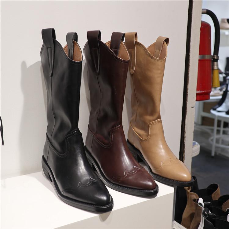 韩国东大门2021秋季新款尖头套筒中跟方跟复古西部牛仔骑士靴子女