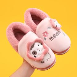 儿童棉拖鞋女童秋冬季男童宝宝居家用防滑包跟可爱卡通毛棉鞋新款