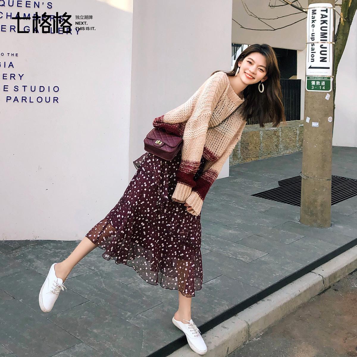 热销32件限时抢购七格格2019新款秋季气质半身裙子