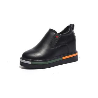 。舒适透气内增高秋季女鞋子2020新款小皮鞋韩版时尚一脚蹬低帮鞋