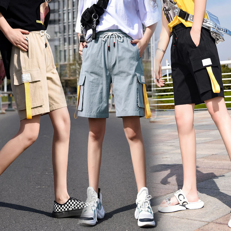 Fashion brand 5-point Jeans Shorts Big Girl Korean student elastic waist casual loose tooling straight pants