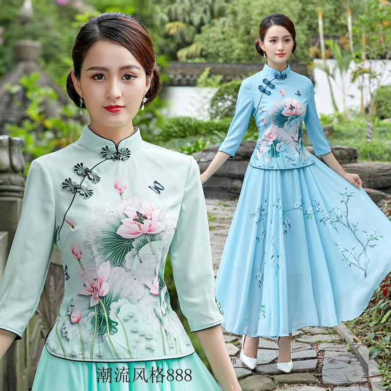 旗袍改良版上衣雪纺裙两件套中国民族风文艺复古女唐装中式汉茶服