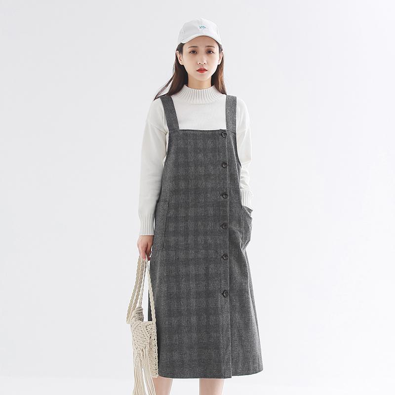 Woolen cloth strap skirt 2020 spring new Korean womens Plaid Dress womens loose and versatile college style long skirt
