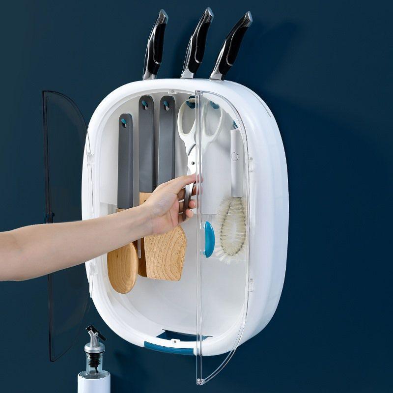 Jitter home furnishing kitchen, tiktok, no hole, dustproof three slot six hook, drain rack