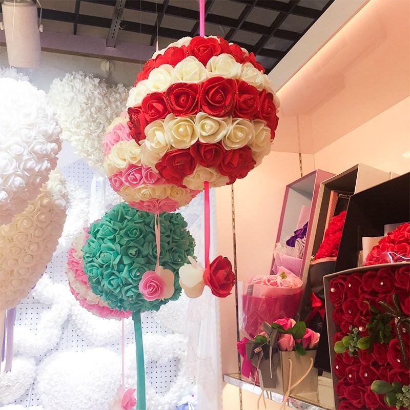 婚庆婚礼创意商场店面春节品挂饰装饰吊顶春节玫瑰花球三八节橱窗