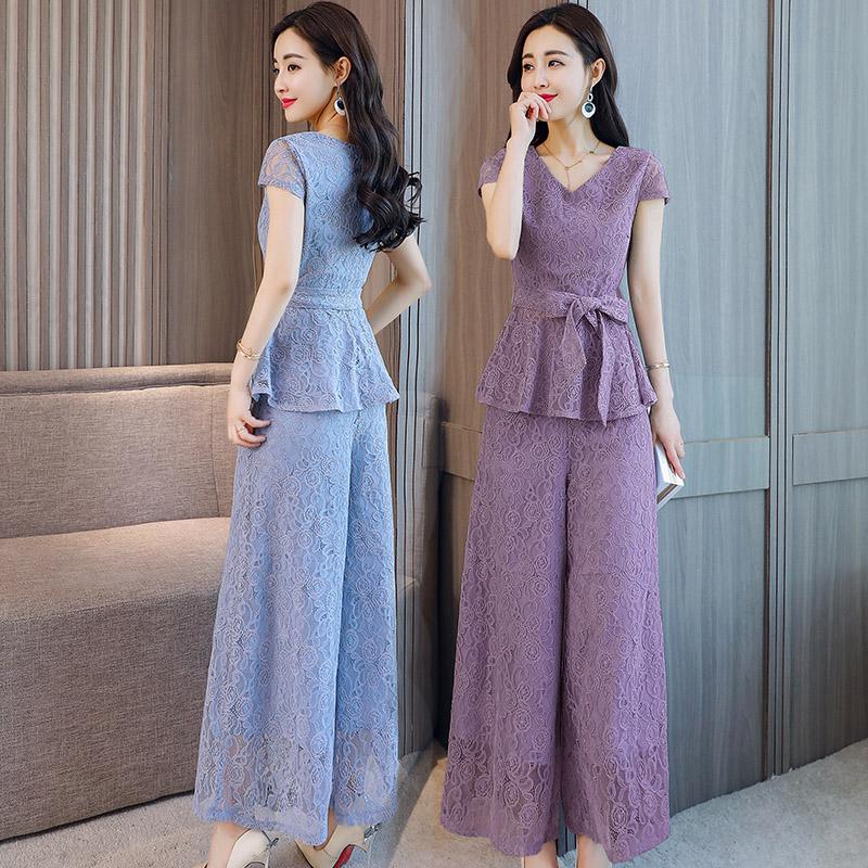 2018夏装新款两件套修身淑女蕾丝套裙时尚女装优雅气质时髦套装裤