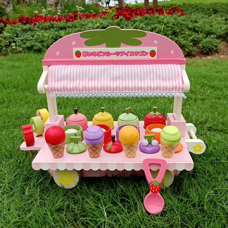 新款木制仿真冰淇淋车雪糕机儿童过家家冰激凌甜筒男女孩玩具礼物