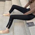 黑色小直筒牛仔裤女高腰显瘦裤脚拉链烟筒裤小个子宽松九分烟管裤