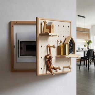 配电箱洞洞板 北欧ins木质电表箱盖板遮挡置物架创意墙壁总闸装饰