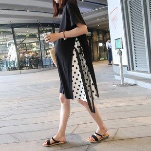 孕妇连衣裙时尚宽松大码长款过膝长裙纯棉T恤裙韩版孕妇夏装裙子