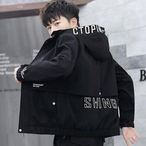 男士外套韩版潮流帅气春秋季夹克青少年男装初高中学生春装上衣服