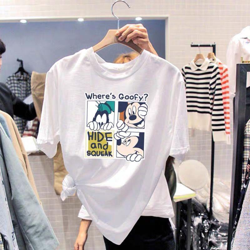短袖t恤女2020ins夏季新款打底衫韩版宽松卡通印花半袖米奇上衣潮图片