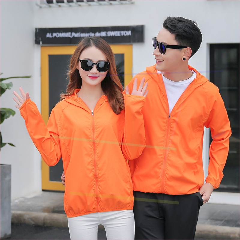 Skin clothes fat mens ultra thin jacket oversized summer mountaineering clothes lovers sunscreen clothes womens pure color simple fashion