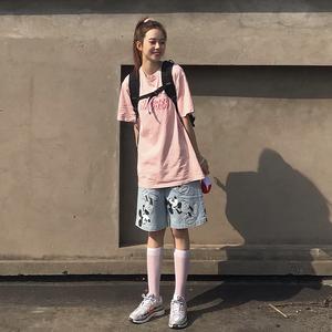 AC HOME国潮米奇基础工装短袖女情侣oversize宽松粉色T恤HILOSER