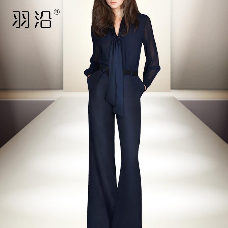 喇叭裤套装女夏2020新款气质职业时尚围巾领洋气雪纺拼接两件套装